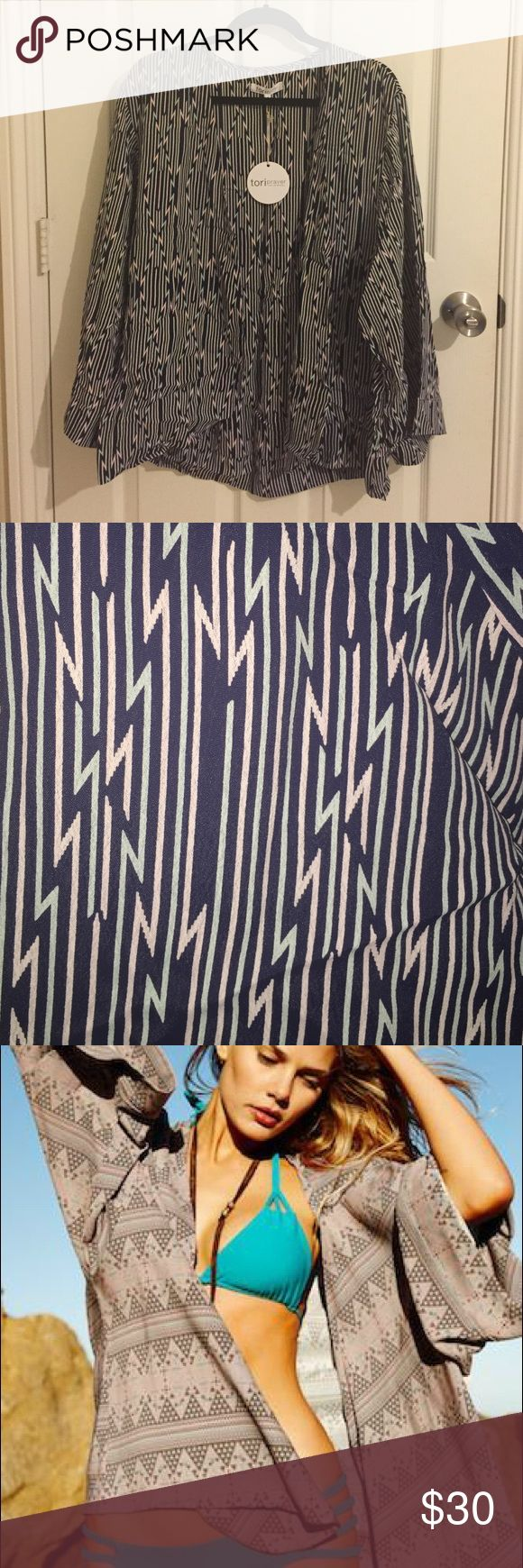 Tori Praver Zanja Kimono - Jaipur Indigo. Size 1 Oversized kimono/cover up.  100% rayon, made in USA, BNWT.  Resort 2015 collection. Tori Praver Swimwear Swim Coverups