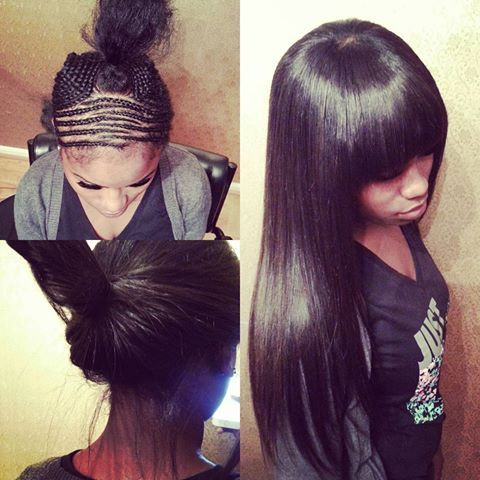 Sew-in with bangs❤❤ you can pull it up or wear it down. #sewin #atlanta #hair #jetblack #longhair #atlanta #stylist #naturallooking #braids #littleleaveout #bangs #cornrows #flatfoundation #nolumpshere