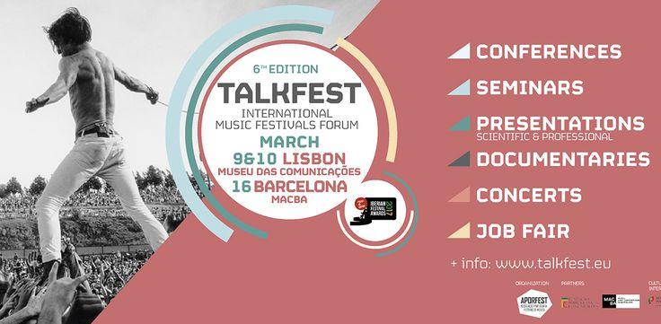 Talkfest 2017 / 2ª Edição Iberian Festival Awards  A 6ª edição do Talkfest'17 (9 e 10 mar - Lisboa e 16 mar - Barcelona) começa daqui a uma semana, deixando alguns dados e curiosidades abaixo:  - 92 speakers (em quatro secções: 10 conferências; 14 +info em http://www.musicaemdx.pt/events/talkfest-2017-2a-edicao-iberian-festival-awards/