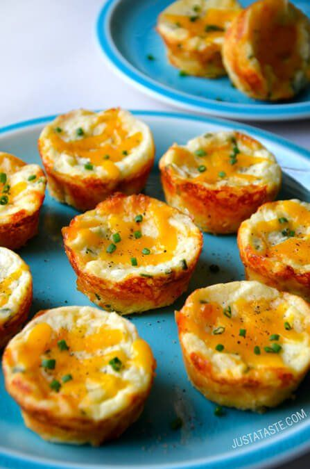 Cheesy Leftover Mashed Potato Muffins | http://www.justataste.com/2014/11/cheesy-leftover-mashed-potato-muffins-recipe/