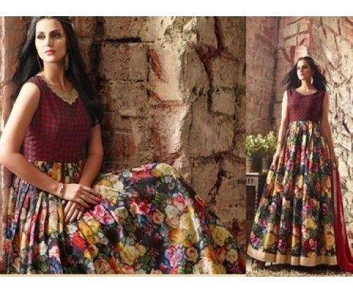 Maroon Floral Printed Banarasi Silk Sawar Suit @Looksgud.in #Maroon #Floral…