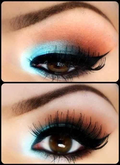 Take a soft blue and a copper shadow to highlight and accent those dark brown eyes.