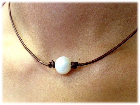 12 to13 mm Cultured Freshwater Pearl and Leather by AdiDesigns