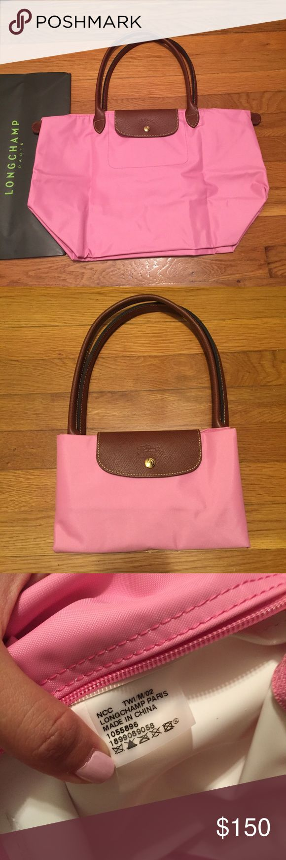 Longchamp Le Pliage Large Tote Pink Large tote with long handles. Recently purchased in Italy. 100% Authentic. Brand new condition. The color is a pink, almost like a pepto bismol pink color. This color is only found in Italy right now and not in the US. Not exactly sure what the name of the color is in English but you can see the color name on the receipt. The picture shows the true color. Firm on price due to rare color in the US. Longchamp Bags Totes