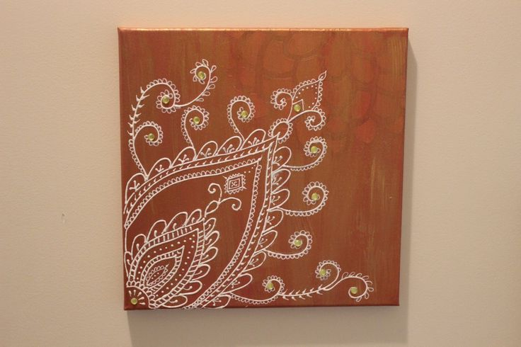 Brown gold henna canvas, Moroccan wall hanging, Abstract art, Henna wall art, Fall color art,Hand painted henna canvas,Henna Mehndi gifts by MoroccanHennaArt on Etsy