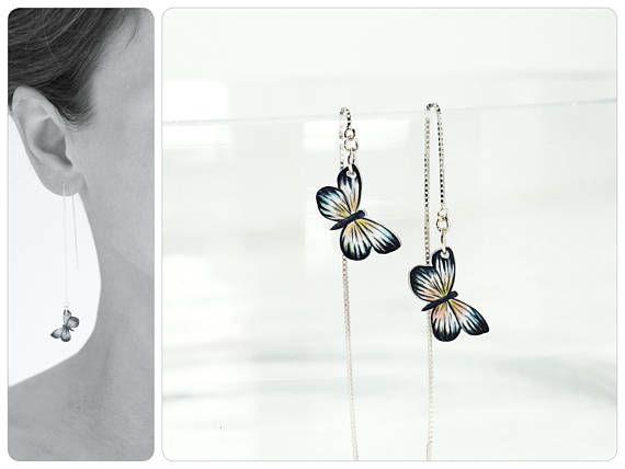 Ohrringe, weiße Schmetterlinge, Ohrkette 925er Silber, weiss-schwarz, Schmetterling •  Ear chain, white butterflies, white-black, butterfly