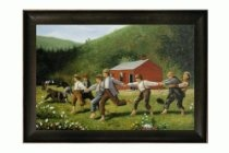 """Hand Painted Framed Canvas Art: Snap the Whip with Veine D' Or Bronze Scoop - Bronze and Dark Brown Finish - 30.5"""" X 42.5"""" - Art Reproduction Oil Painting"""