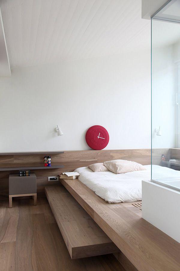 Futuristic Penthouse Design Architecture in Wooden Design : Light Oak Bedroom Bedframe White Mattress Lycabettus Penthouse