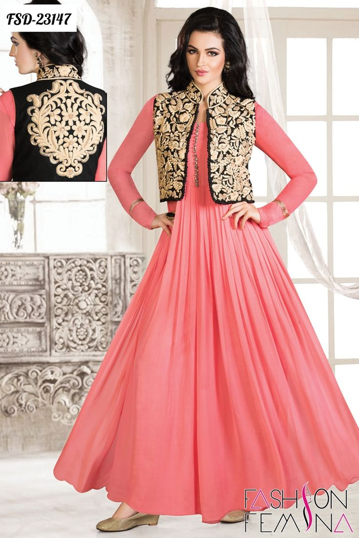 Z Fashion Trend: PINK FLOOR LENGTH ANARKALI WITH BLACK EMBROIDERED ...
