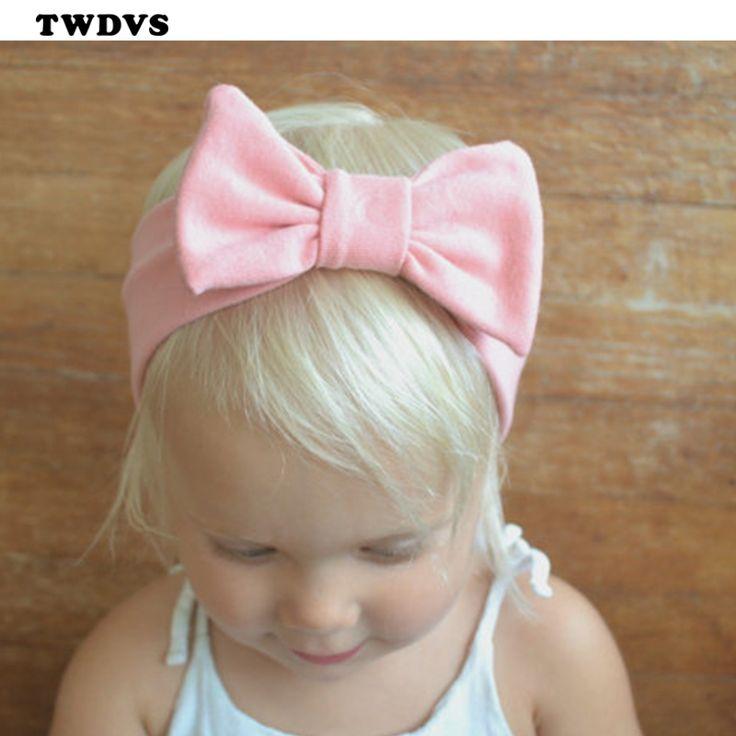 Twdvs bebê nó algodão elasticidade headband faixa de cabelo crianças acessórios para o cabelo das meninas do bebê grande nó w193