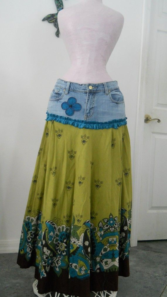 Old jeans, an old skirt & ruffle or lace! Super easy!