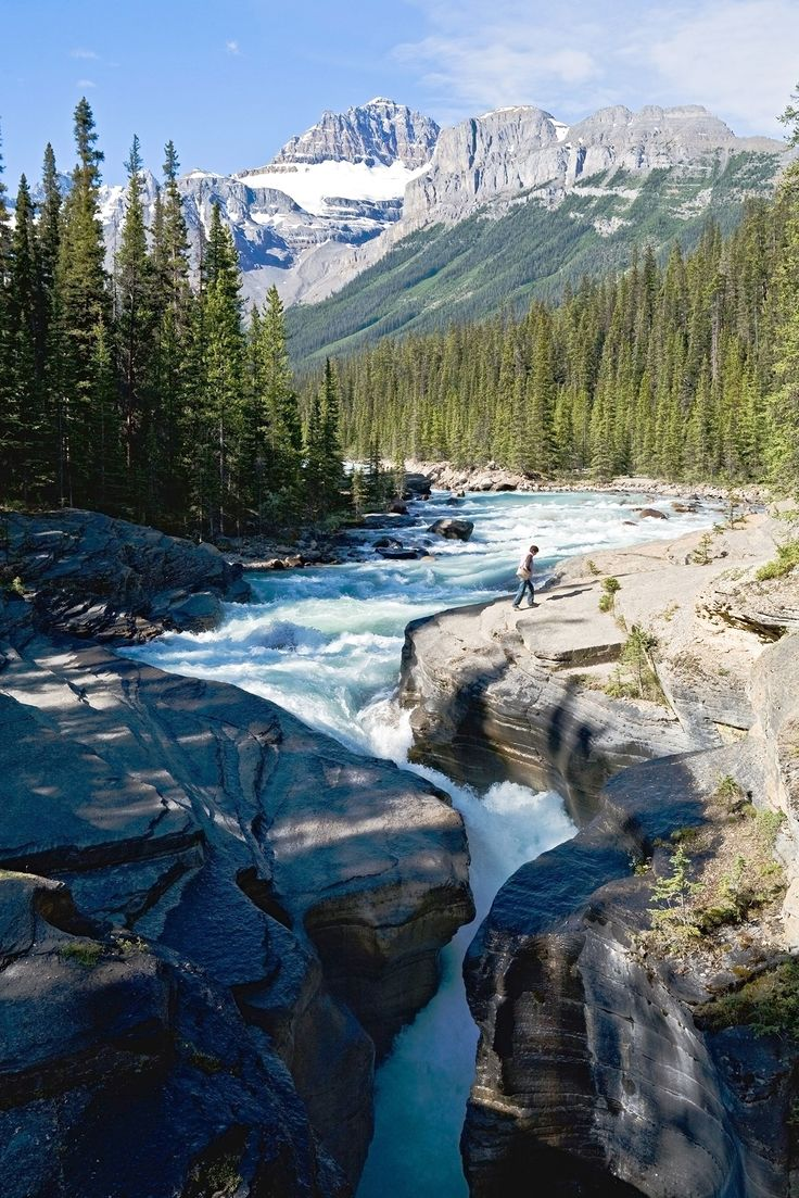 Picture of a person standing near the Mistaya River in Alberta, Canada