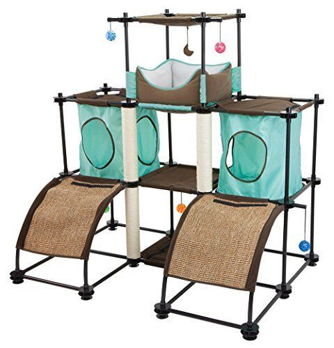 """Cat play rooms full of kitten toys, cat trees and cat wall shelves... all the diy cat stuff a """"Crazy Cat Lady"""" and his/her feline friends could ever want. Kitty City Kitty City Steel Claw Castle Cat Furniture"""