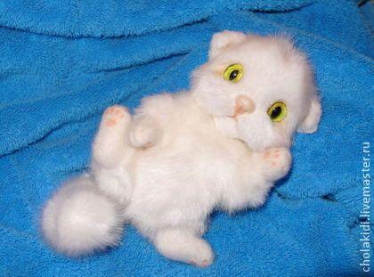 Котенок Няшка)) - белый,котик натюр,котенок тедди,кот,кошка,манчкин,котенок игрушка