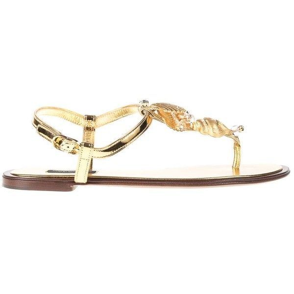 Sandals Flip Flops Leather Rolled With Applications (€370) ❤ liked on Polyvore featuring shoes, sandals, flip flops, gold, womenshoesflat shoes, roll shoes, metallic shoes, dolce gabbana sandals, leather flip flops and metallic sandals