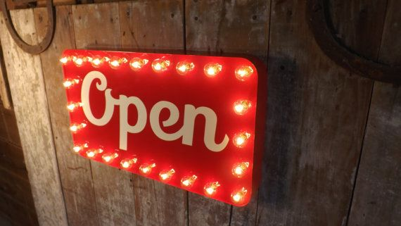 Open sign marquee lights store window by HitandMissLimited on Etsy