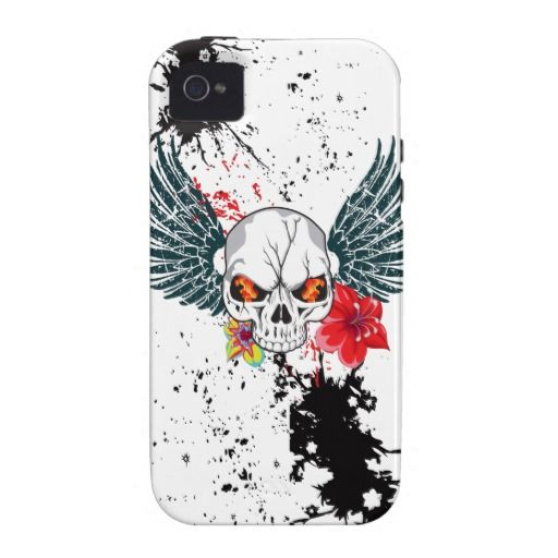 Fire-eyed cracked skull with wings, flowers, Read and Black splatter background