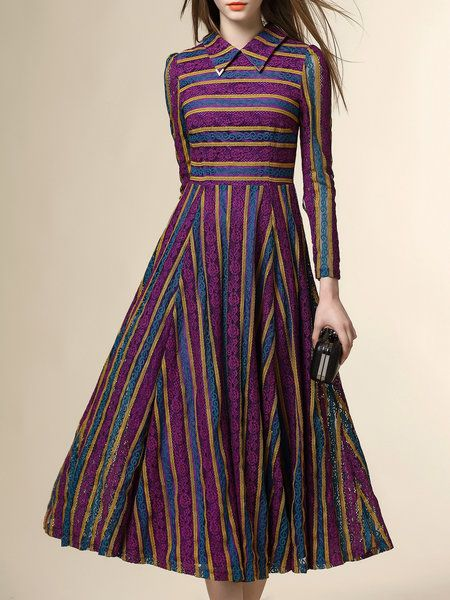 Shop Midi Dresses - Purple Stripes Pierced A-line Long Sleeve Midi Dress online. Discover unique designers fashion at StyleWe.com.