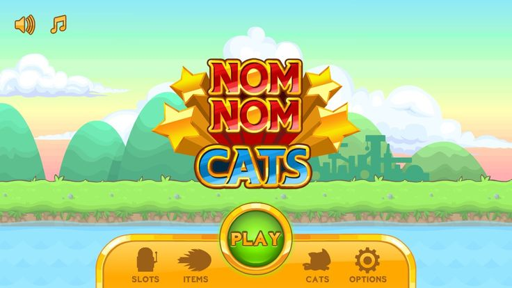 UI for Nom Nom Cats, an exciting platform running game with cats!