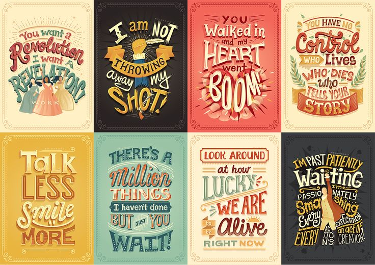 Hand-lettered posters out of lyrics from Hamilton songs. By Risa Rodil