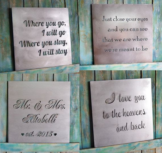 Anniversary Gift Custom Metal Quote Sign And Sayings