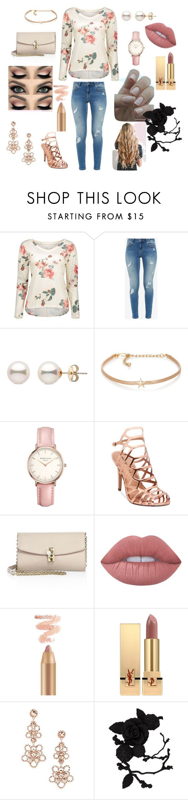 """Roses"" by die-ammy ❤ liked on Polyvore featuring Ted Baker, Kenneth Jay Lane, Topshop, Madden Girl, Dolce&Gabbana, Lime Crime, Yves Saint Laurent, Kate Spade and olgafacesrok"