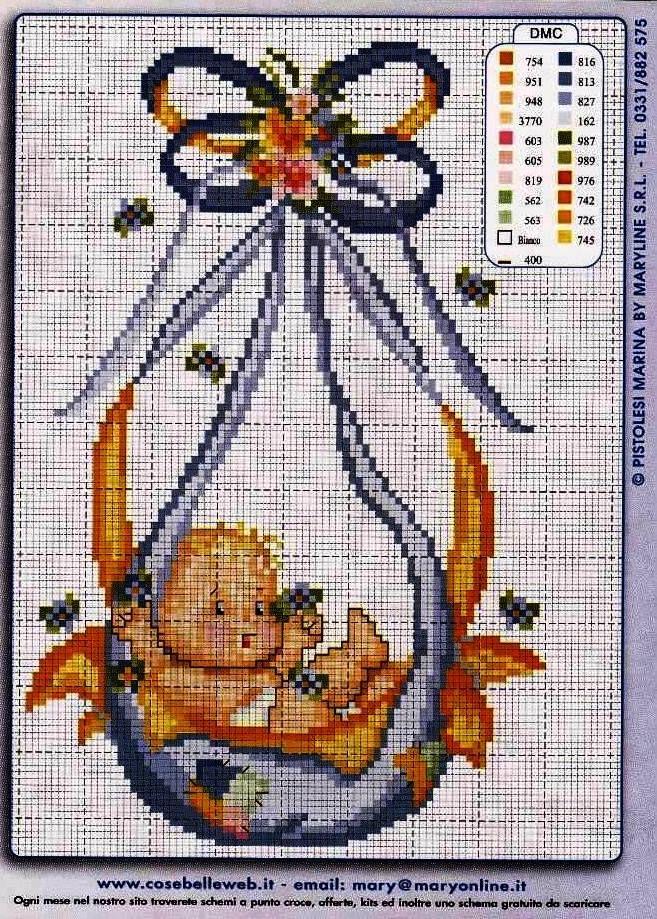 cross stitch a baby is born
