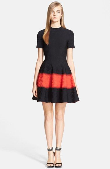 Alexander McQueen Textured Fit & Flare Dress