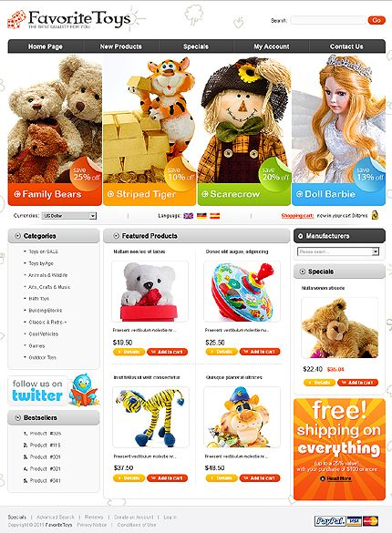 Favorite Toys osCommerce Templates by Mira