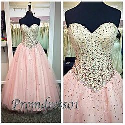 #promdress01 prom dresses - Pink sweetheart strapless empire high waistline prom dress for teens,ball gown, wedding dress #promdress #coniefox