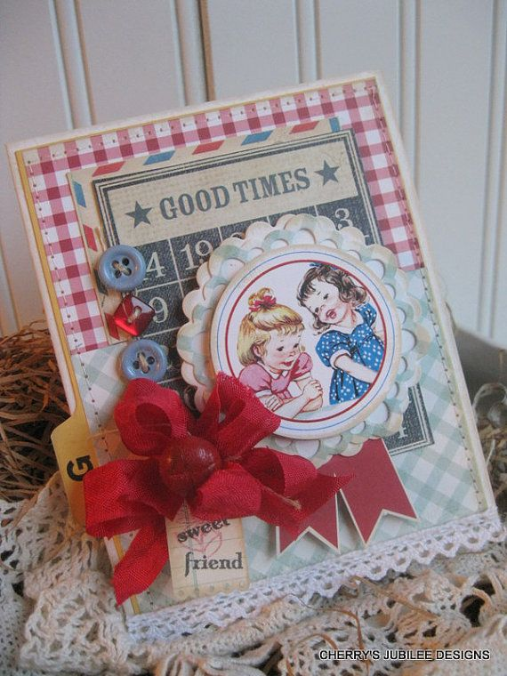 cottage little girls G is for good times vintage index card SWEET FRIEND stitched handmade card