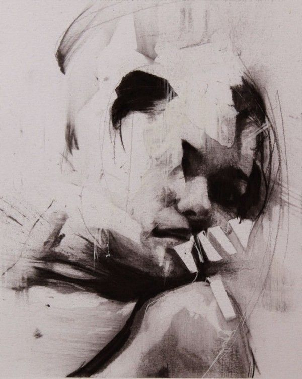 Artist: Ian Francis {contemporary abstract female head woman face portrait drawing}