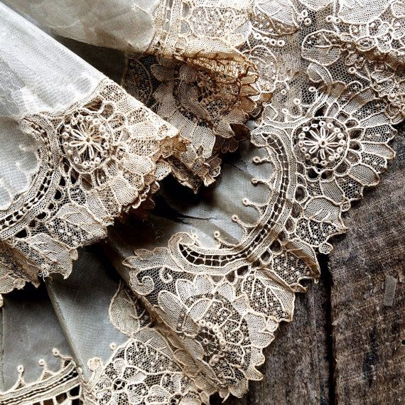 French Antique Handmade lace. 18th Century Alençon Needle Lace. Rare French 18th C lace Point dAleçon This border of Alençon lace is all that is left of an 18th century silk and mother-of-pearl fan. The hand painted silk fabric s crumbling but the linen lace is in near perfect condition! Extraordinary! This lace is true Alençon lace- considered to be the most beautiful (and the most labour intensive!) of all French laces. Ive been doing research and according to Dentelles de France by M…