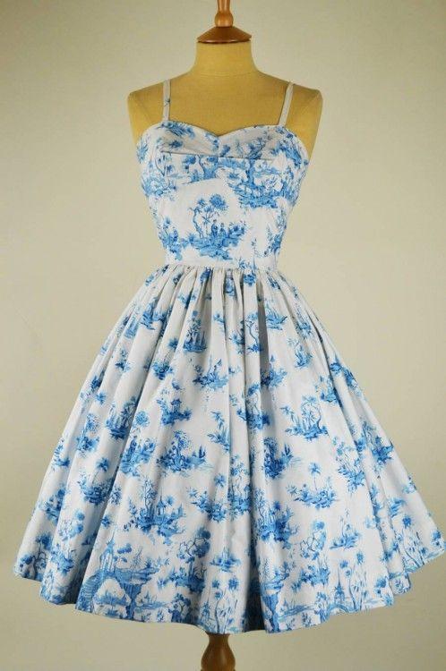 1950s Vintage Dress by Horrockses Willow Pattern with Bolero | Mela Mela Vintage