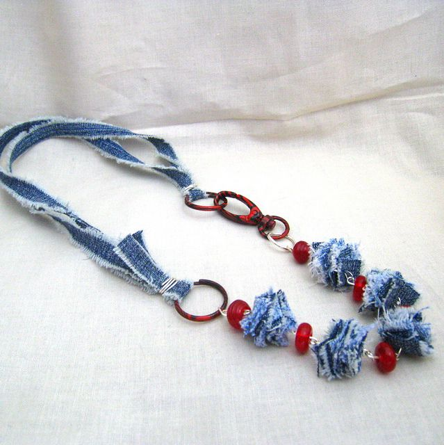 Interesting necklace. I like the painted clip and the red beads that really set this off! ~ denim necklace by maryrose_21, via Flickr