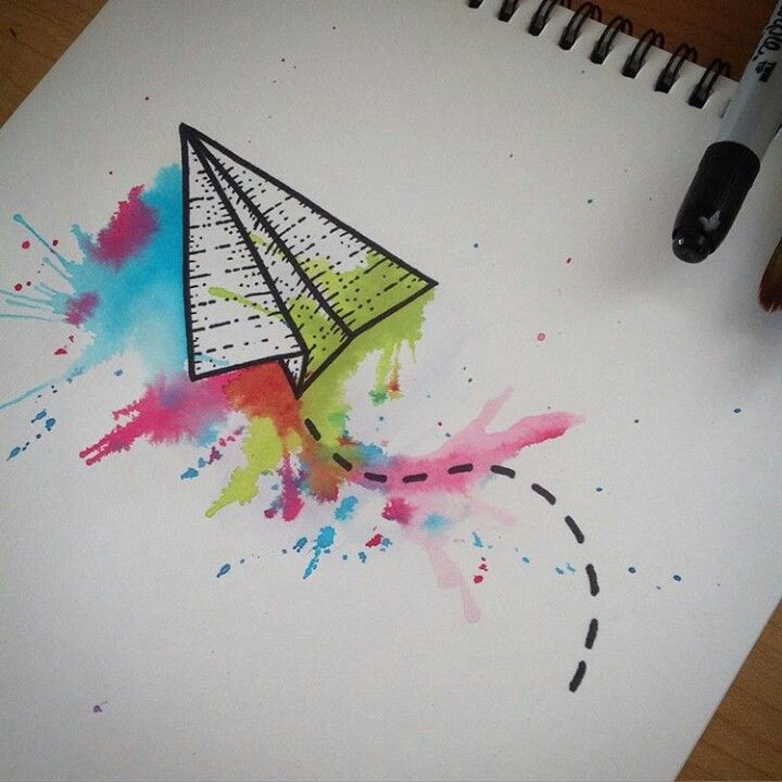 Watercolor origami plane