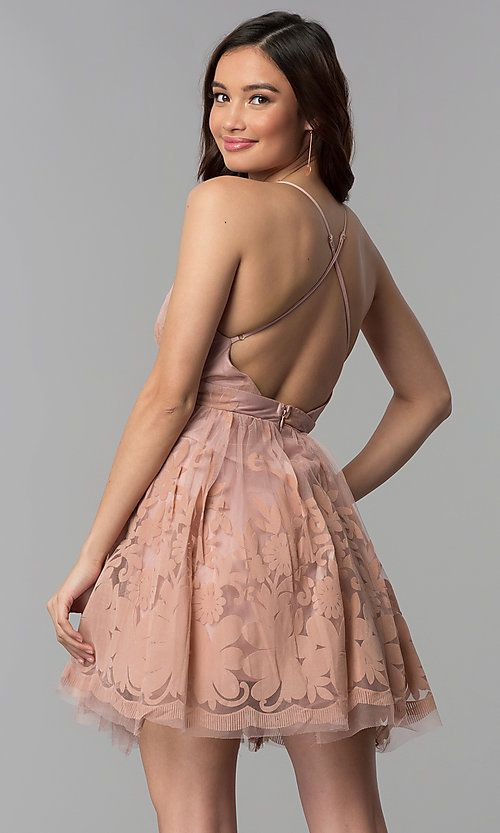 577816aad2 Tulle Floral-Print Deep V-Neck Short Party Dress in 2019 ...