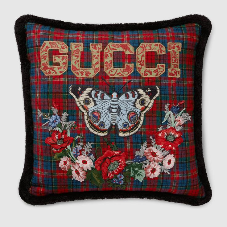 Gucci, Floral Print Fabric, Floral Prints, Velvet Cushions, Pink Velvet, Butterfly Print, Embroidered Flowers, Decoration, Tartan