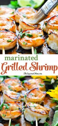 A simple Marinated Grilled Shrimp recipe is the perfect easy and healthy dinner for warm weather months! With just 10 minutes of prep and 5 minutes on the grill, this fresh dish comes together quickly and makes family meals relaxing, delicious, and nutritious | on myrecipemagic.com