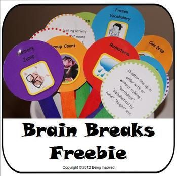 FREE Brain Breaks - Printable games and activities for 5 minute classroom breaks. (from Being Inspired)
