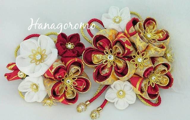 豪華な赤地金襴二重つまみ花簪パール★成人式髪飾り 結婚式和装髪飾り 振袖