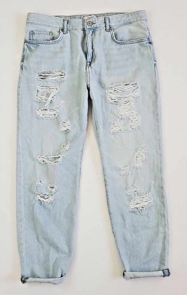 6b73e4ce156e5f Forever 21 Baggy Boyfriend Jeans Distressed Light Wash 30 #FOREVER21 ...