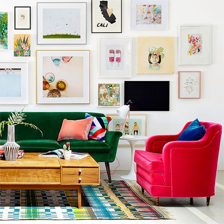 The whole room is lovely, but that cerise chair is especially amazing!