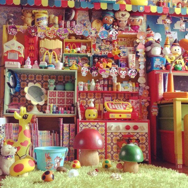 matrukoさんの、アメリカン,アメリカン雑貨,チョコホリック,マクドナルド,コレクション,アメリカンポップ,トイストーリー部,子供と暮らす。,オタク部屋,おもちゃ,レトロポップ,子供部屋,きのこ,壁/天井,のお部屋写真