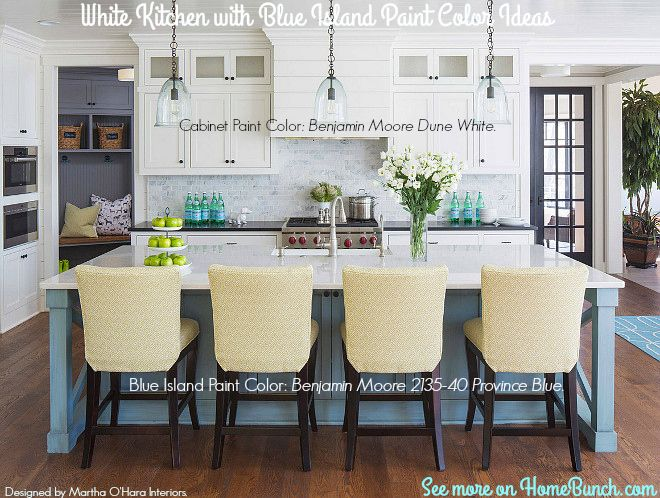 White Kitchen With Blue Island Paint Color Ideas White Kitchen With Blue Island Paint Color