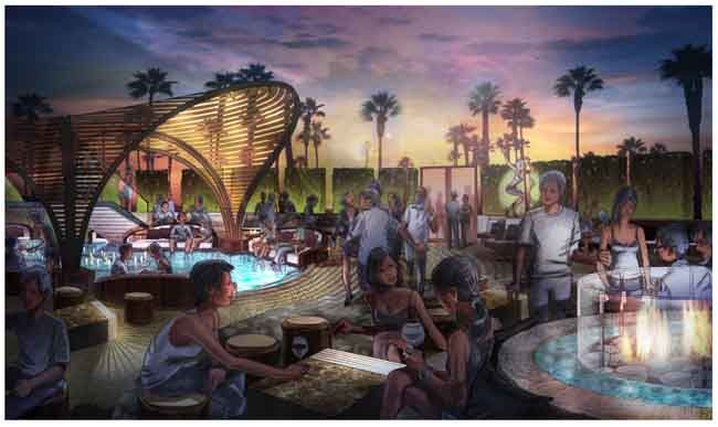 Hybrid traditional and digital rendering of proposed nightclub terrace in Las Vegas, NV.