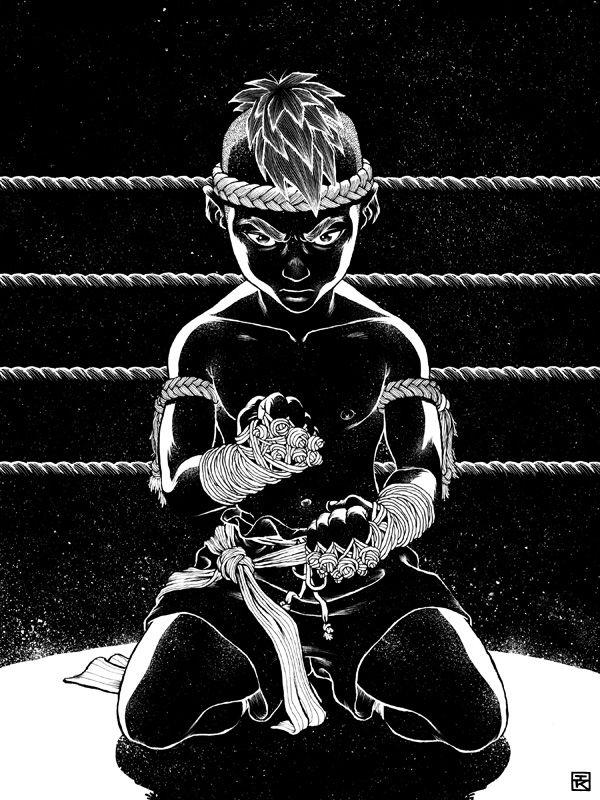 Ian Kim illustrator thai boxing kick black white