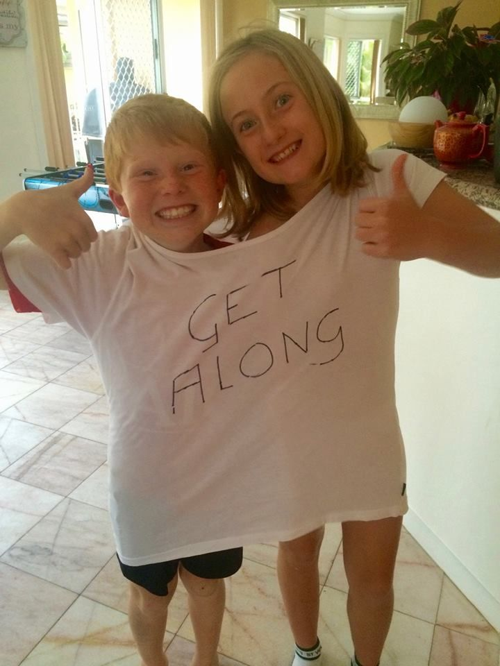 """Charli and Mitch have been driving me crazy with their bickering, so today they are learning to """"Get Along"""".  Lets see how funny it is after 2 hours!  #CrazyKids #MumsGoingCrazy"""