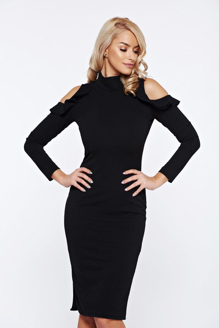 StarShinerS black pencil daily dress with both shoulders cut out, Ruffled sleeves, both shoulders cut out, tented cut