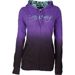 Fly Racing Womens Ombre Zip-Up Hoodie - Purple Black